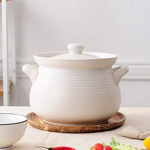 AGGF Japanese Ceramic Casserole Dish with Lid,deep Stockpot Heat-Resistant Earthen Pot Korean Bibimbap Fryer Healthy Cookware Creamy-White 4.23Quart