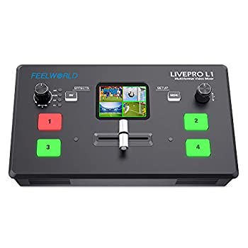 FEELWORLD LIVEPRO L1 V1 Multi Camera Video Mixer Switcher 2 Inch LCD Display 4 x HDMI Inputs USB 3.0 Output Format Real Time Production Live Streaming Lightweight