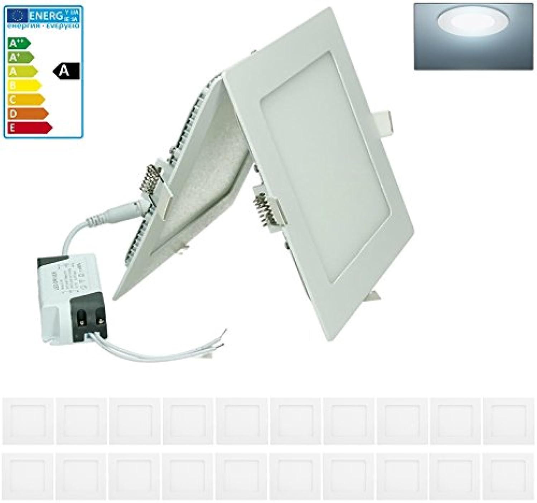 ECD Germany 20-er Pack LED Einbaustrahler 12W - Panel Deckenstrahler ultraslim - 220-240V - SMD 2835-17 x 17 cm - kaltwei 6500K - eckiger Einbauleuchten Spot für Flur, Bad oder Küche