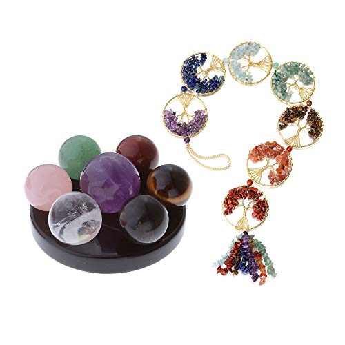 MANIFO 7 Chakra Gemstone Ball Sphere Set on Black Obsidian Hexagram Stand Healing Crystals Appetizer Plate Bundle with Tree of Life 7 Chakra Crystal Hanging Ornament