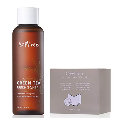ISNTREE Green Tea Fresh Hydrating Face Toner with Hyaluronic Acid for Sensitive Oily Dry Acne Prone Skin | Deep Moisturizing Facial Moisturizer 6.76 fl. oz. with Cotton Pads | Korean Skin Care