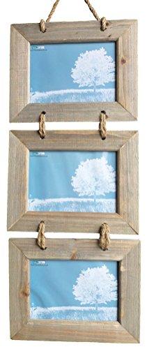 Tripla cornice shabby chic in legno naturale da appendere, per foto da 18x 13cm