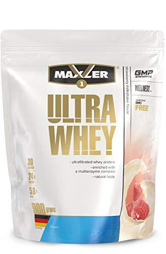 Maxler Ultra Whey Protein Pulver - Natürlich schmeckendes Protein Whey - Eiweiß Shake für Muskelaufbau, Wiederherstellung, Pre Workout & Post Workout - Protein Powder Erdbeer Shake - 900 g