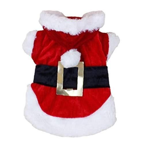 Amoyer 1pc Ropa para Perros Navidad para Perros Pequeños Cálido Invierno Traje De Santa Claus Perro del Partido Un Pelo Vestido De Perro De La Boda hasta