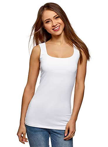 oodji Collection Mujer Camiseta del Tejido Fluido con Tirantes Anchos, Blanco, ES 42 / L
