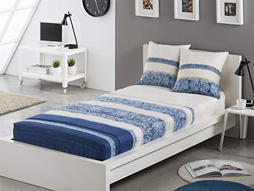 Tejidos JVR - Edredón Ajustable Amber Cama 90 - Color Azul