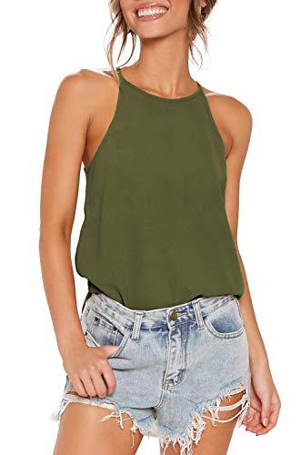ZJCT Womens Shirts Halter Neck Tank Top Summer Casual Basic Tee Shirts Racerback Workout Tops Loose Fit Sleeveless Beach Cami Tanks Tops Olive S
