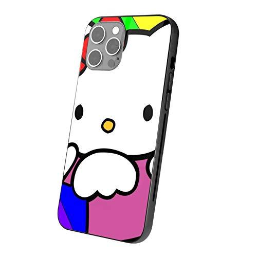 VOROY Carcasa para iPhone 12, diseño de gato Hellokitty de anime 12, transparente, personalizable, de cristal templado, carcasa rígida para teléfono móvil, protección para niños IP12 Pro-6.1