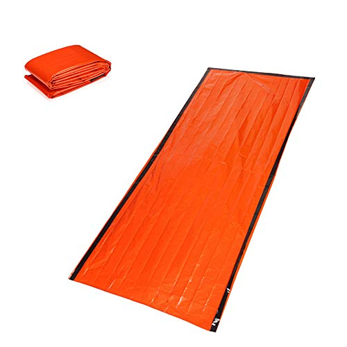 Outdoor PE Aluminum Film Emergency Sleeping Bag Emergency Tent Thermal Insulation Moisture-Proof Mat Sunscreen Reflective Orange 1 Pc