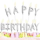"""Candele di Compleanno,candeline di compleanno""""Happy Birthday"""",Candele Metalliche della Torta,Lettere Candeline per La Decorazione della Torta della Festa Nuziale di Compleanno(Argento)"""
