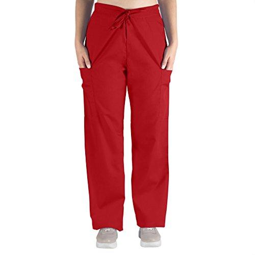 Nurse Scrubs for Men & Women: Unisex Medical Nursing Pants 2 Cargo Pockets XS Red