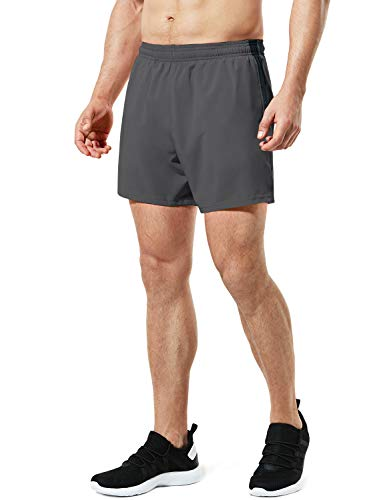 TSLA Men's Active Running Shorts, Training Exercise Workout Shorts, Quick Dry Gym Athletic Shorts with Pockets, 5 Inch(mbh25) - Dark Grey, Medium
