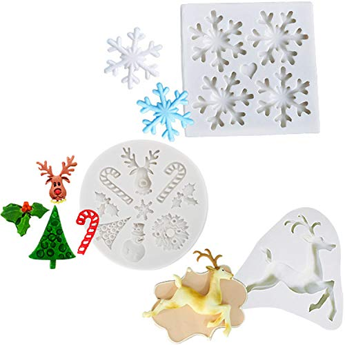 Christmas Snowflake Fondant Molds, Xmas Cake Cupcake Decoration Silicone Chocolate Candy Mold, Christmas Tree/Gingerbread Man/Reindeer/Snowflake/Santa Claus Xmas Decor Resin Clay Mold