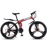BHDYHM Bicicleta De Montaña Plegable De 26 Pulgadas, Tren Transmisión De 21/24/27 Velocidades Bicicleta Montaña Todo Terreno con Doble Freno Disco, Guardabarros Delantero Y Trasero,Red-21-Speed