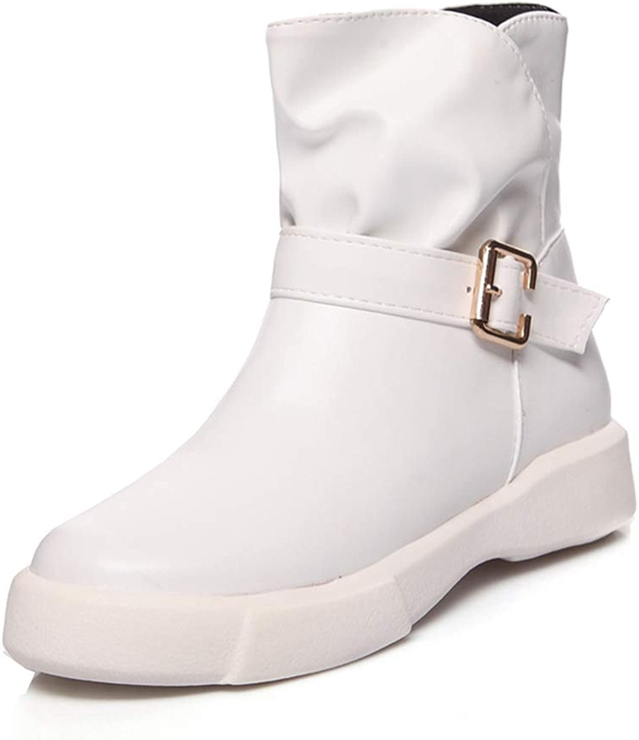 Hoxekle Fashion Buckle Ankle Boots for Women Winter Flat Boots Spring Autumn Casual Women Black White Boots shoes