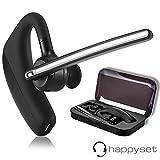Bluetooth Headset 4.1 für Handy mit Mikrofon - happyset - zum Telefonieren 2 Handys Geräte Business Auto Büro Etui KFZ universal iPhone 5 6s 7 Plus X 8 XS XR Samsung Galaxy S7 S8 S9 S10 Huawei P20 P30