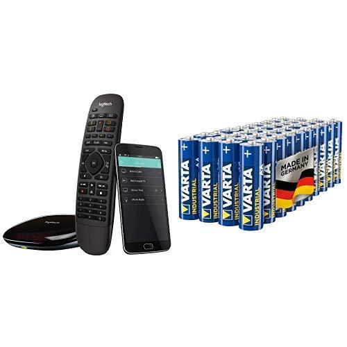 Logitech HarmonyCompanionAll-in-one-Fernbedienung (geeignet für Smart-Home, Hub und App, funktioniert mit Alexa) schwarz & Varta Industrial Batterie AA Mignon Alkaline Batterien LR6