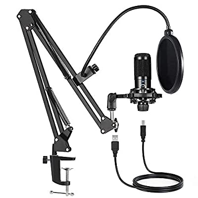 USB Condenser Microphone Bundle Kit,192KHZ/24BIT Professional Cardioid Computer Mic with Adjustable Scissor Arm Stand Shock Mount and Gain Knob for Recording,for Podcasting, Gaming, YouTube (Black) from Dschlzy