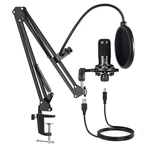 USB Condenser Microphone Bundle Kit,192KHZ/24BIT Professional Cardioid Computer Mic with Adjustable Scissor Arm Stand Shock Mount and Gain Knob for Recording,for Podcasting, Gaming, YouTube (Black)