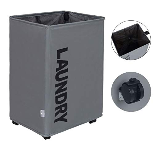DOKEHOM X-Large Laundry Basket with Leather Handle and Wheel 4 Colors Collapsible Laundry Hamper Foldable Clothes Organizer Folding Washing Bin Dark Grey L