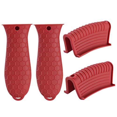 DOITOOL 4Pcs Titular Silicone Pot Punho Vermelho Tampas Do Punho de Ferro Fundido Frigideira Pote Manga Pega Pega Panela De Calor Isolado Pegador de Panela de Tampa para Panelas
