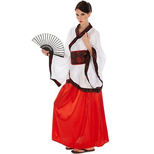 TecTake dressforfun Frauenkostüm Asiatin | Glänzender Satinkimono | Fernöstliche Verkleidung | inkl. Hüftbindegürtel (L | no. 301022)