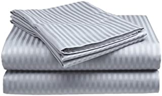Deluxe Hotel 4-Piece Bed Sheet Set - Dobby Stripe - 100% Cotton Sateen - 300 Thread Count - King - Silver