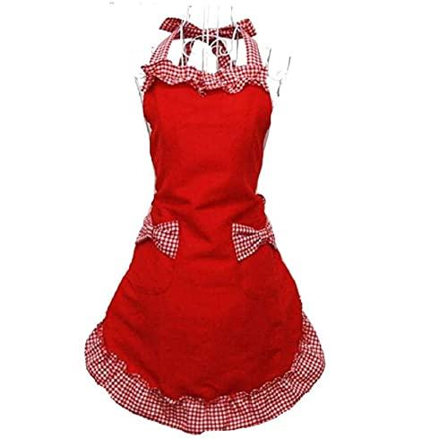 Miya® süße Prinzessin rot Küche Schürze Grillschürze mit rot & weiß Karo Muster kariert Schleife und Taschen aus Baumwolle, süßes Gechenk für Mutter, Frau, Freundin, Tochter, Schwester usw. (Rotweiss)