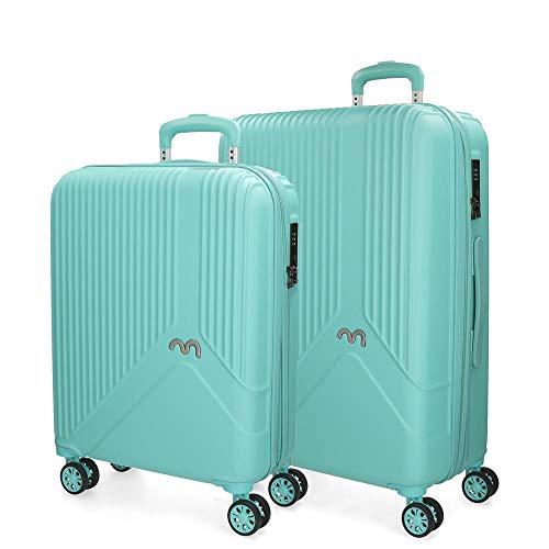 Movom Trendy Juego de maletas Verde 55/66 cms Rígida ABS Cierre TSA 110L 4 ruedas dobles Equipaje de Mano