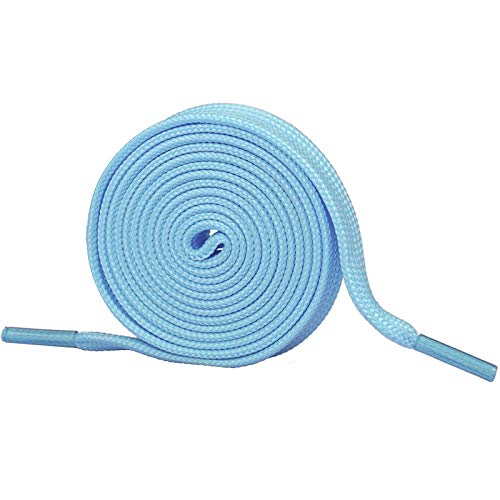 Booyckiy [2 Pairs] Flat Shoelaces for Sneakers, 2/5' Wide Shoe Laces Baby Blue 48 inch(122cm)