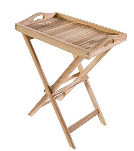 Tablett-Tisch-Serviertisch-Klapptisch-Gartentisch-Beistelltisch-Balkontisch-Butler-Tisch-Teak-Massiv-Holz