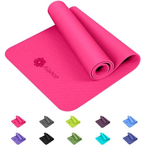 Aisoco Yogamatte, aus umweltfreundlichem TPE-Schaum. Gymnastik Matte, Übungsmatten, rutschfest, umweltfreundlich, Hypoallergen und hautfreundlich, ideal für Yoga, Pilates&Fitness,& Yoga-Tragetasche,