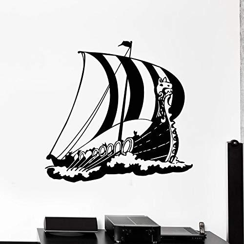 mlpnko Navigation Wandtattoo mittelalterlichen Wikinger Schiff Marine Stil Vinyl Fenster Aufkleber dekorative Wandbild,CJX11023-86x89cm