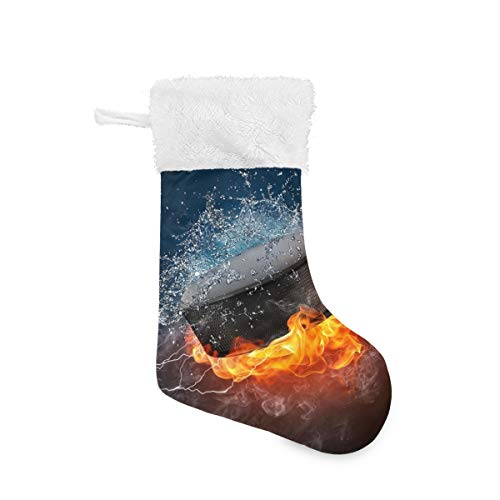 Christmas Socks Hockey in Flames and Water Personalized Santa Stocking 2pcs Set Gift Kids Fireplace/Restaurant/Hotel/Club/bar for Xmas Tree Decor
