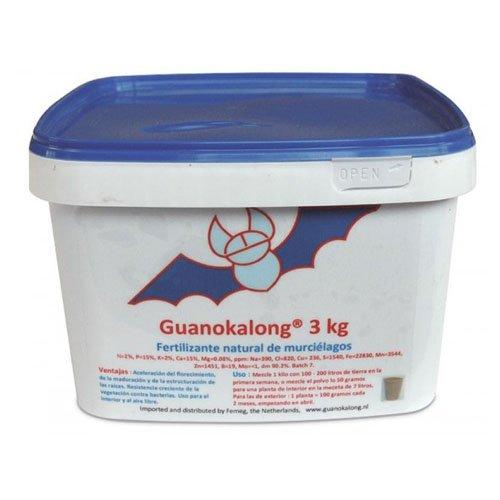 Guanokalong Guano de Murciélago en Polvo 3Kg Fertilizante, Blanco/Azul/Rojo