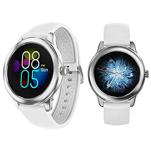 Smartwatch Inteligente Impermeable IP67 Pulsera Actividad Hombre, Inteligente Reloj Deportivo Reloj Fitness Con Pantalla Táctil Completa Pulsómetro Cronómetros Per Ios Android Smartwatch Mujer,Plata