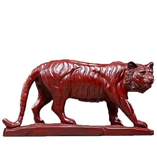 Work of Art Tigre Escultura Ornamento Madera Tallado Grande A Mano Oficina Sala De Estar Estudio Vino Gabinete televisor Mueble Escritorio 40X9X20CM MUMUJIN (Color : Red)
