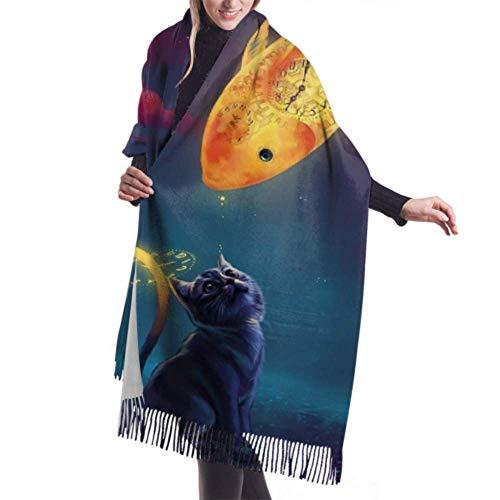 27'x77 Pañuelo en la cabeza para mujer Gato de dibujos animados Goldfish Obra de arte Nubes Relojes Niñas Chales y abrigos Bufanda barata Elegante manta grande y cálida