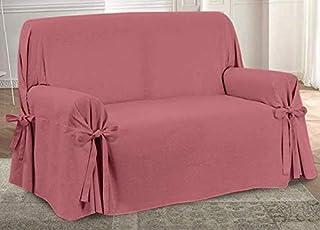 HomeLife – Cubre sofá de 3 plazas – Elegante Protector de sofás Liso – Funda de sofá de algodón para Proteger del Polvo, Las Manchas y el Desgaste, Fabricado en Italia – Rojo