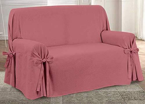 HomeLife – Cubre sillón – Elegante Protector de sofás Liso – Funda de sofá de algodón para Proteger del Polvo, Las Manchas y el Desgaste, Fabricado en Italia – Rojo