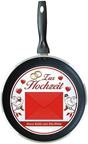 Bratpfanne zur Hochzeit (32641 rot) Kohle zum verbraten Eheglück Geldgeschenk als Hochzeitsgeschenk