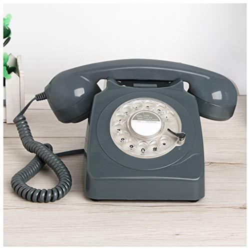 XIUXIU Telefono fijo Vintage Classic Turntable Teléfono Rotación Retro Rojo Negro Gris Verde Doble Anillo Home Office Hotel Fijo Teléfono Fijo Metal Campana (Color : Gray)