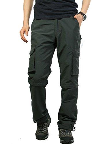 Echinodon Herren Zipp Off Cargo Hose Schnelltrockend/ 6 Taschen/Elastischer Bund Outdooor Hose Vintage Cargohose Grau