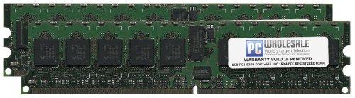 HP 2GB [2x 1GB] PC2-5300 DDR2-667 1Rx4 ECC Registered RDIMM Memory Kit (HP PN# 408851-B21)
