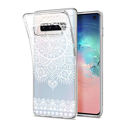 HULI Design Case Hülle für Samsung Galaxy S10 Smartphone im Orientalischen Muster weiß - Schutzhülleaus Silikon mit orientalischem Mandala Muster Henna Ornament Traumfänger - Handyhülle mit Druck