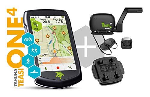 TAHUNA TEASI ONE⁴ Bundle - Outdoor-Navigationsgerät mit Bluetooth, Kompass und Europakarte inklusive Speed Sensor und 2 Halterungen