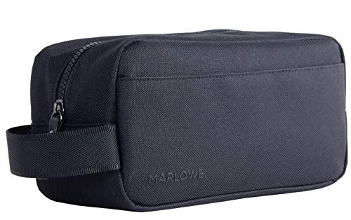 MARLOWE. Men's Toiletry Bag | Lightweight Black Canvas Dopp Kit for Travel | Water-Resistant Organizer Bag | Use for Travel, Gym, Shave Kit, or Bathroom