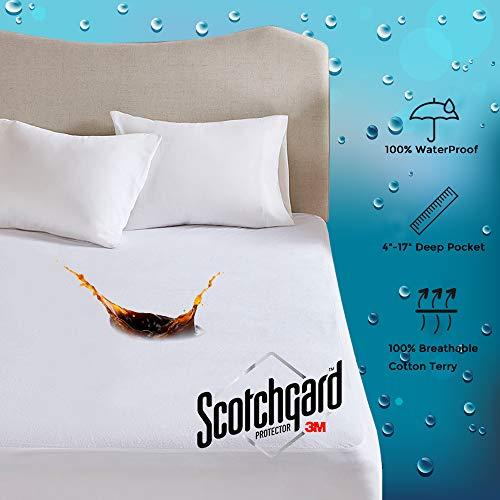 Protector de colchón impermeable MP2 100% algodón de rizo, liberación de manchas 3M Scotchgard ajustable de 10 a 21 pulgadas bolsillo profundo, Blanco, Twin - 39' x 75'