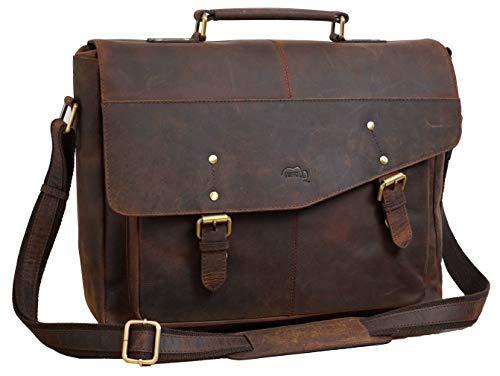 TUSC Hyperion Braun Leder Aktentasche für Laptops bis 15,6 Zoll, Umhängetasche Schultertasche mit Flaschenhalter, Arbeitstasche, Bürotasche Messenger Bag für Laptop, Größe- 42x33x11 cm