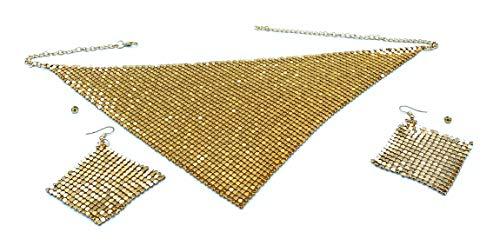 Conjunto de joyería india de estilo elegante, Gargantilla de Metal brillante con forma de rebanada, collares, pendientes, fiesta, boda, conjuntos de joyería (JOYA DORADA)